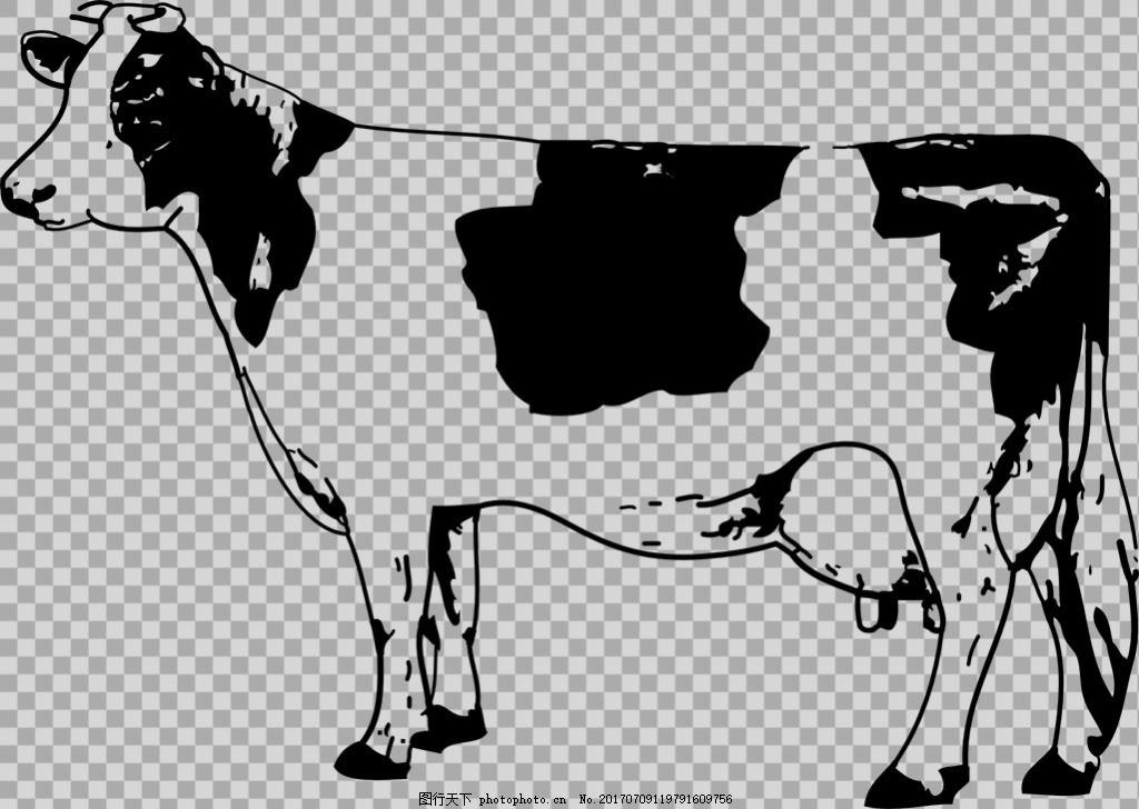 手绘素描风格奶牛免抠png透明图层素材 家畜动物 可爱动物图片 家禽