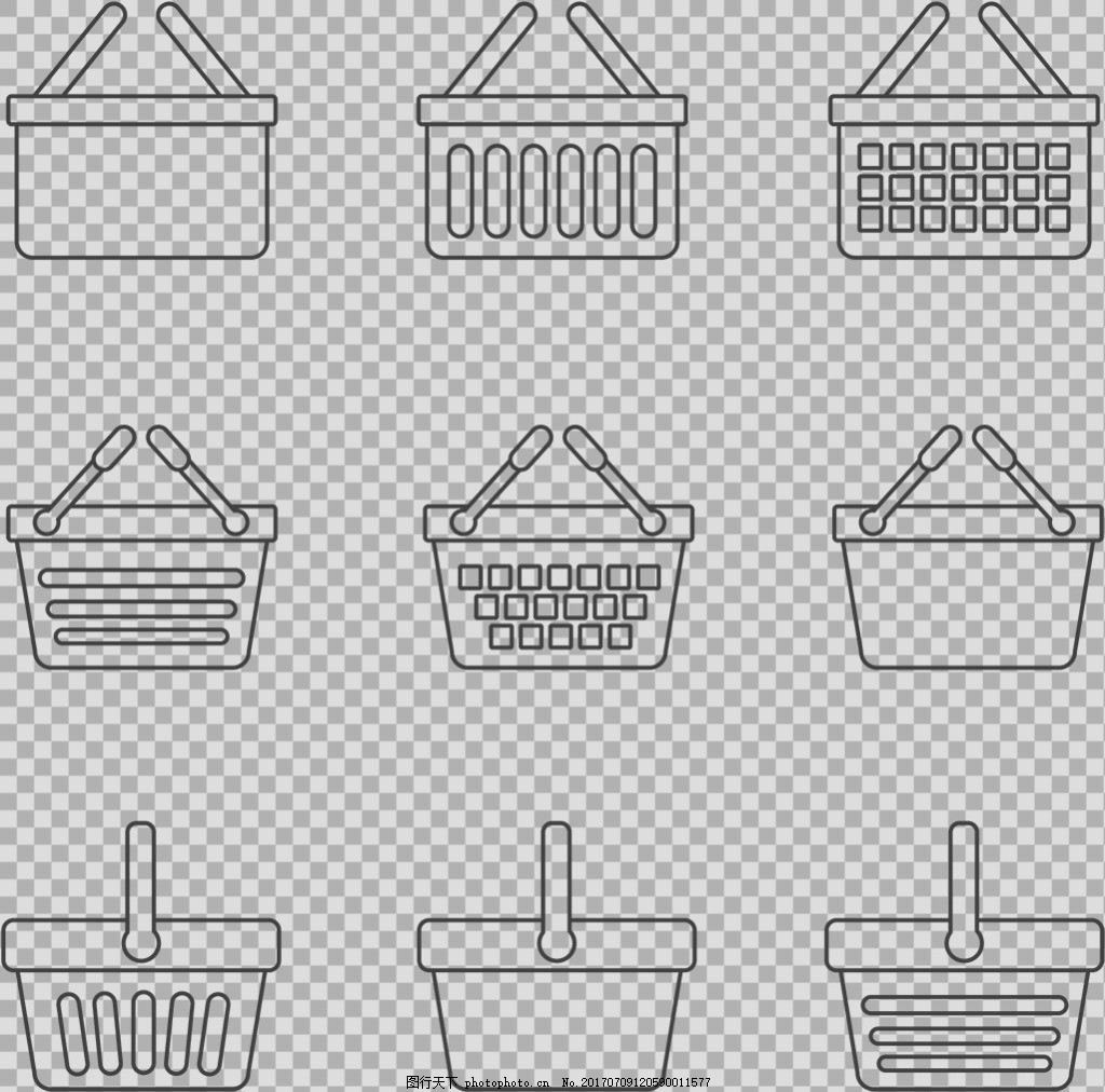 手绘黑色购物篮插图免抠png透明图层素材