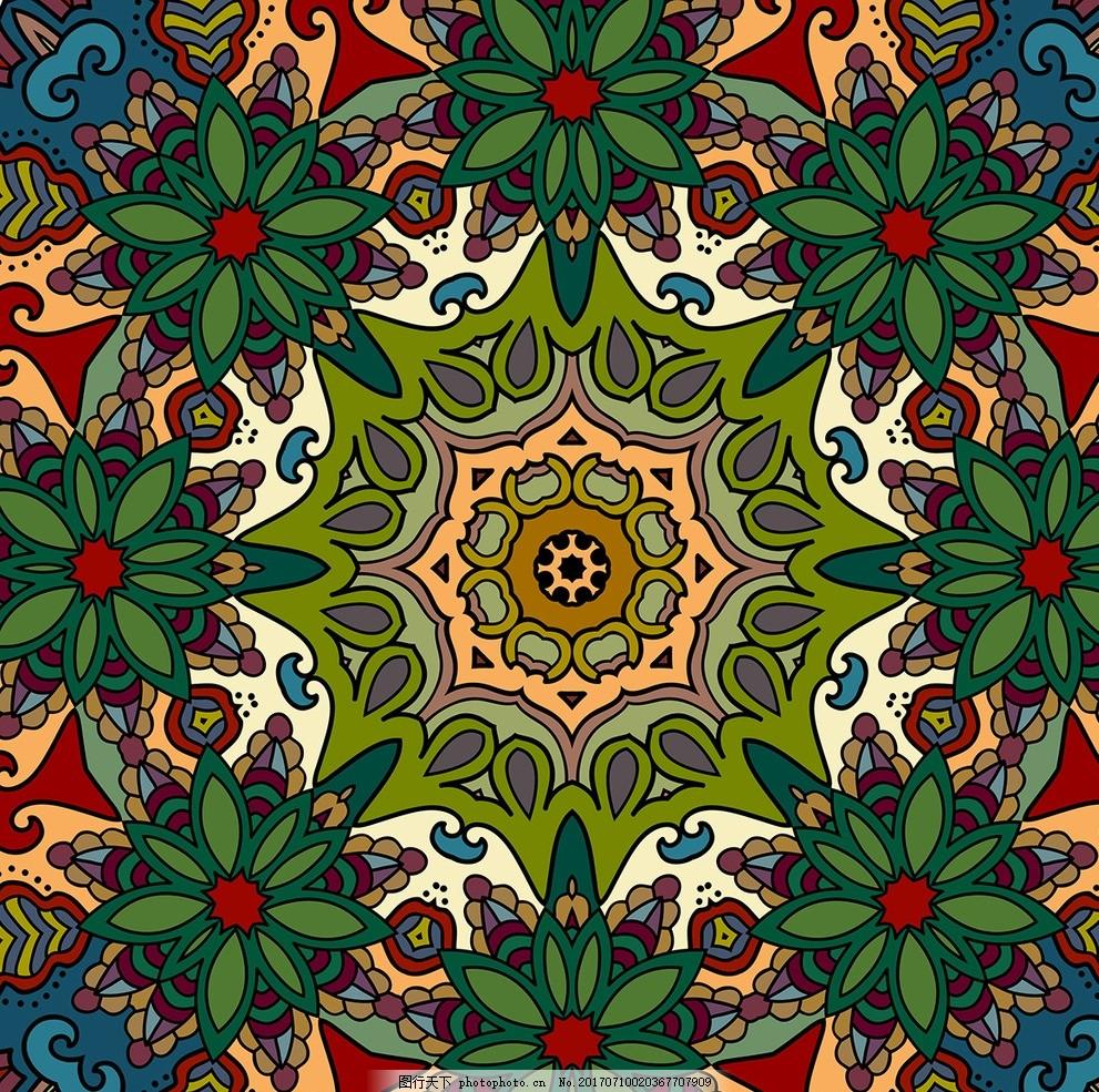 抽象纹样 欧美花型 壁纸 方巾底纹 丝巾花纹 服装图案 矢量设计 ai