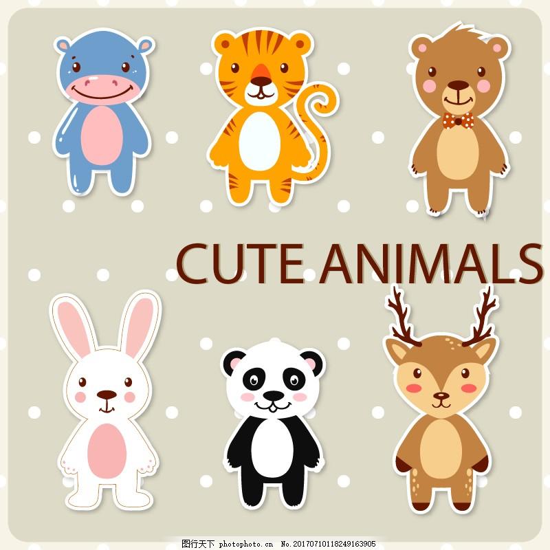 卡通动物背景素材 卡通背景素材 动物素材 动物背景图 河马 老虎