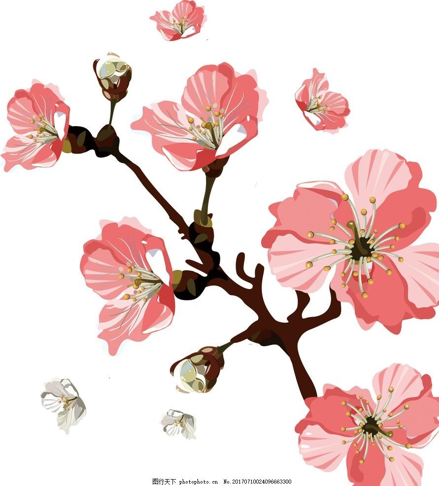 桃花飘散的创意手绘