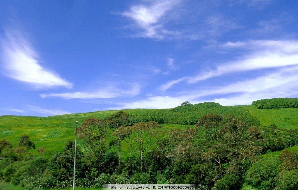 新西兰风景 天空 蓝天 白云 群山 绿树 绿地 草地 自然风光