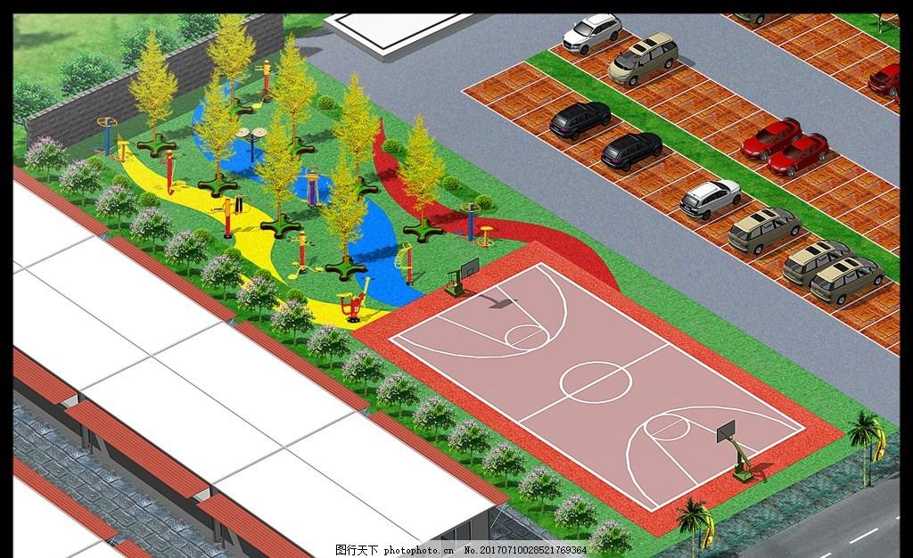 景观设计 观 绿地 手绘 广场 铺装 地板砖 拼花 树 树木 步道 草坪