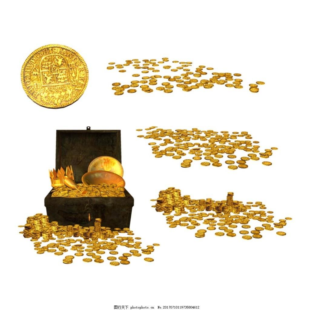 手绘金币宝箱元素 圆形金币 金银珠宝 百宝箱 元宝