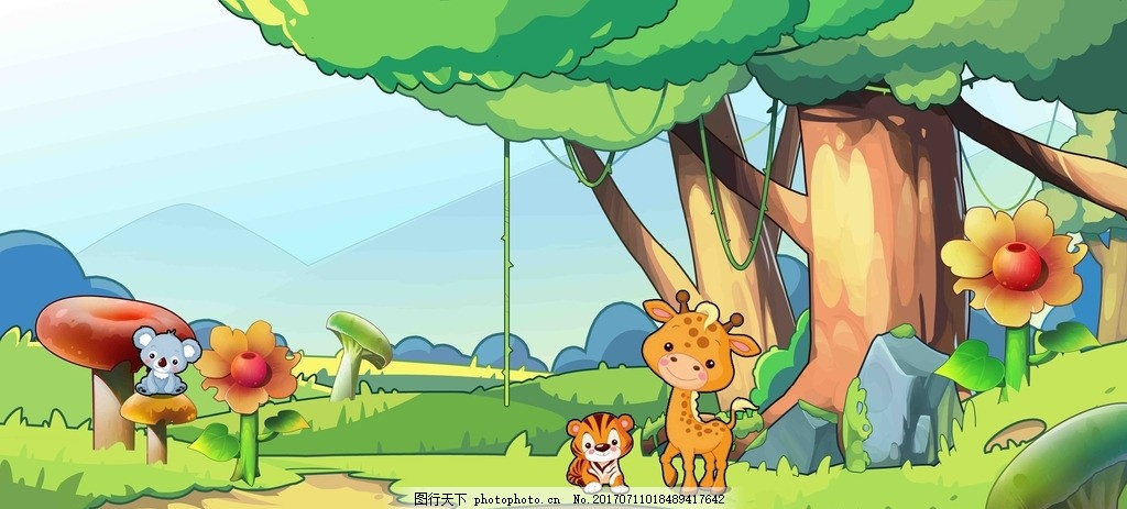 森林动物壁纸 森林 墙纸 壁纸 漫画 卡通 动物 设计 动漫动画 风景