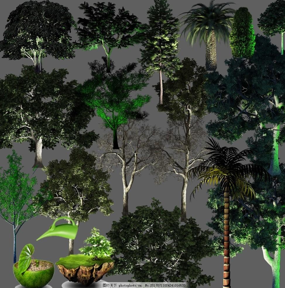 夜景树 植物园林素材 树木灯光 亮化素材 草坪灯 月亮 景观树