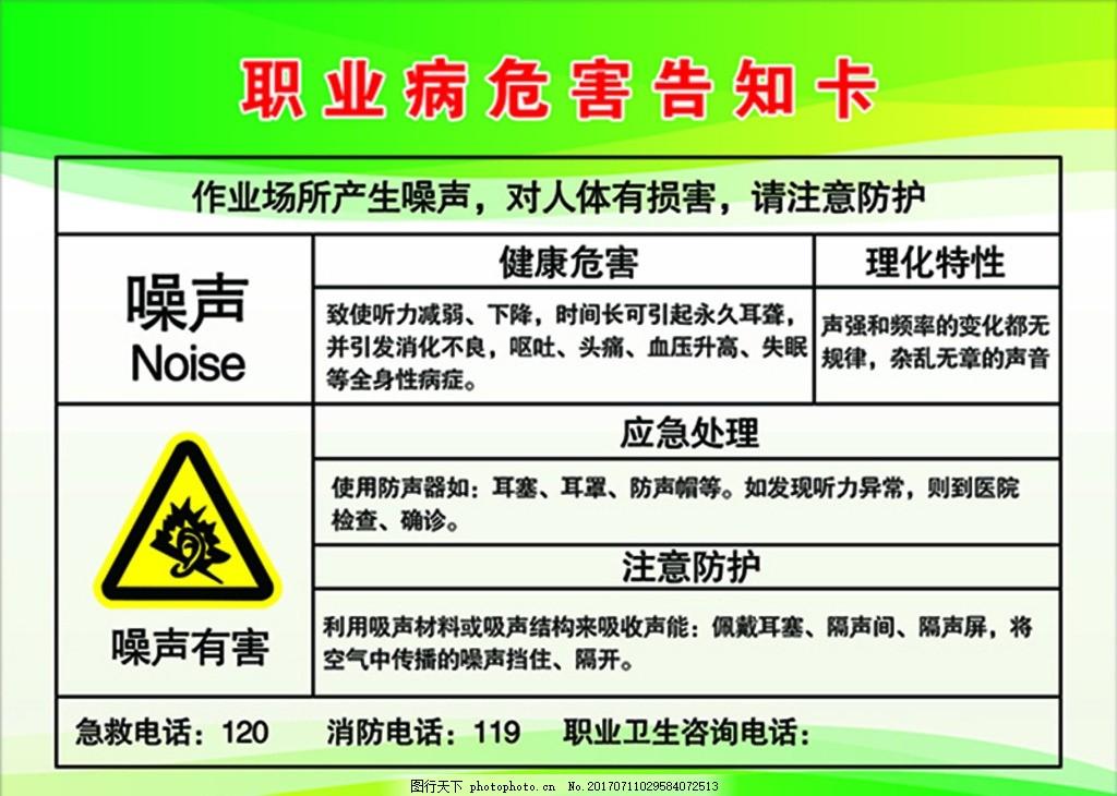 职业病危害告知卡 噪声 噪声有害 急救