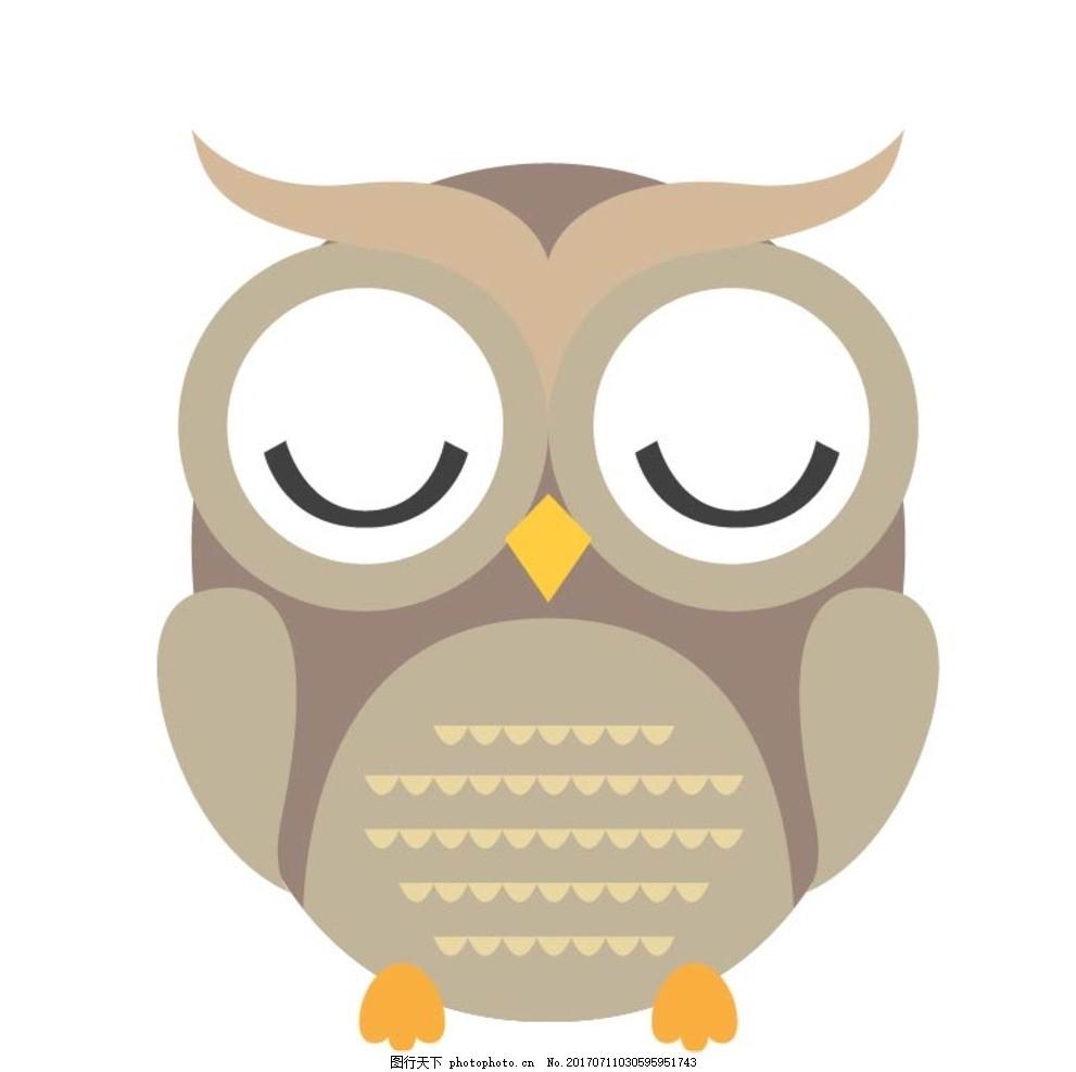 扁平动物 矢量扁平动物 矢量图 卡通漫画 q版动物 贴纸 卡通猫头鹰