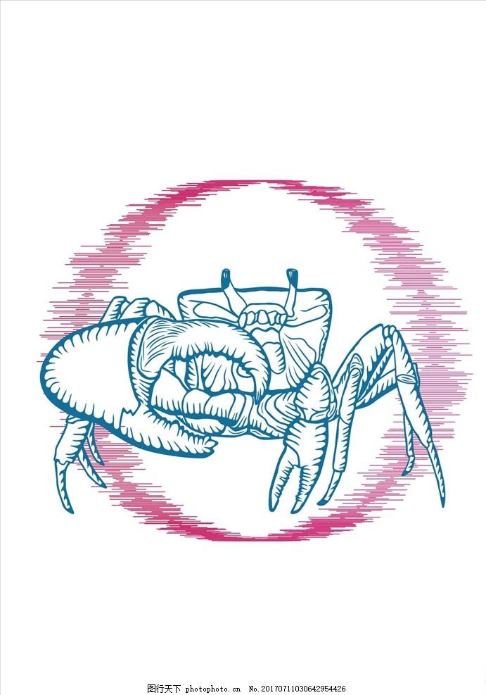 手绘线描螃蟹矢量图下载