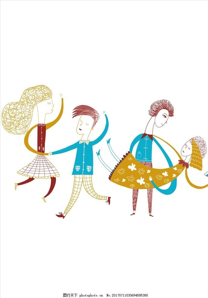 抽象人物 手绘人物插画 人像插画 抽象人物插画 卡通人物 舞蹈 跳舞