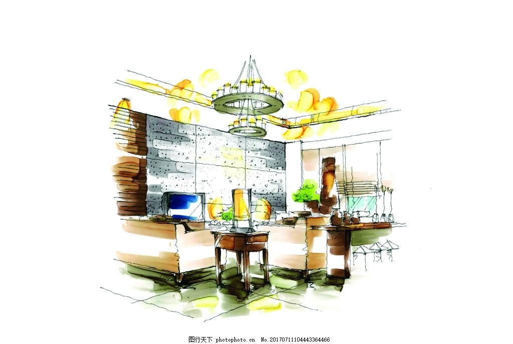 装饰设计手绘图 室内设计 装修 家装 客厅 室内设计手绘图 环境设计