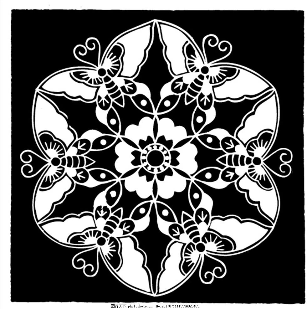 古典蝴蝶纹样团花 蝴蝶花 六角 雪花 传统花纹 中国古典 传统花边