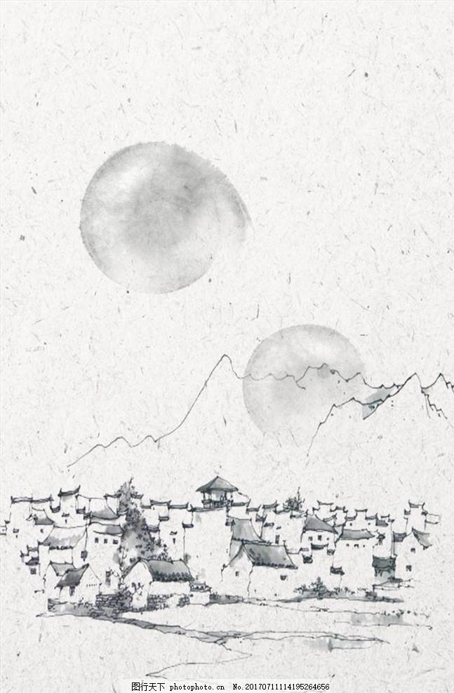 中国风水墨山水背景 纹理 树枝 山水画 传统 鸟 国画 牡丹 花鸟