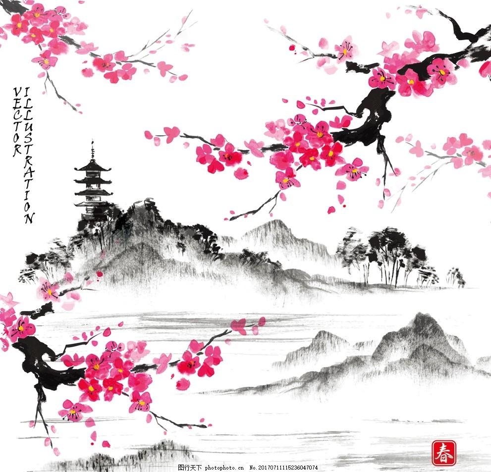 中国特色图案 红色桃花背景 中国风印花 中国风面料 红色梅花图案