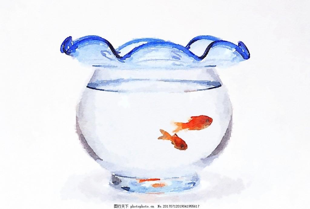 鱼缸静物水彩 金鱼 鱼缸 水彩画 静物 手绘 水彩 设计 文化艺术 绘画