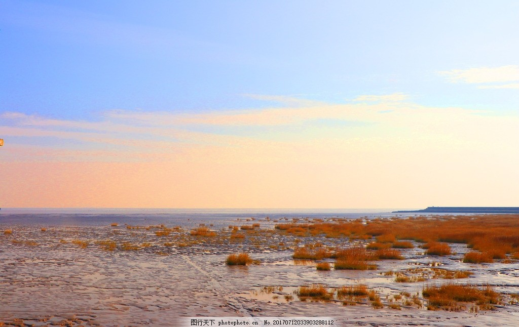 上海 奉贤 海边风景 晚霞 海岸 海滩 海边 滩涂 海湾 云彩 云霞 海边
