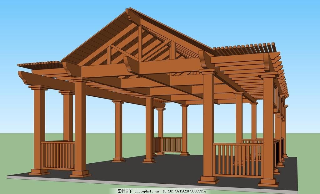 sketchup素材 景观设计 园林设计 庭院设计 园林小品 园林古建 廊架