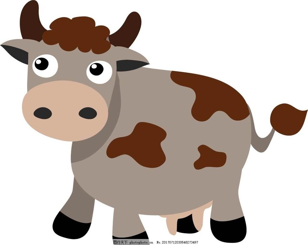 卡通奶牛 卡通动物 动漫卡通 可爱 贺卡 动物插画 插画 儿童绘本 儿童