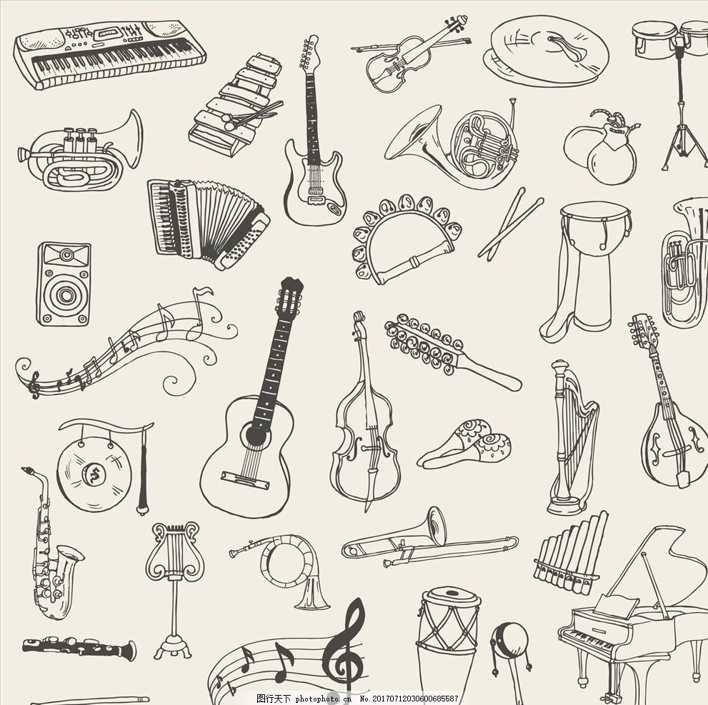 手绘线描乐器矢量图下载