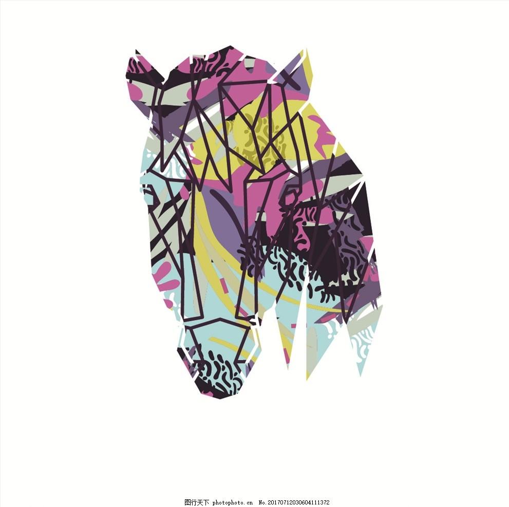 抽象动物头像 卡通动物头像 线描动物头像 动物世界 手绘涂鸦动物 马