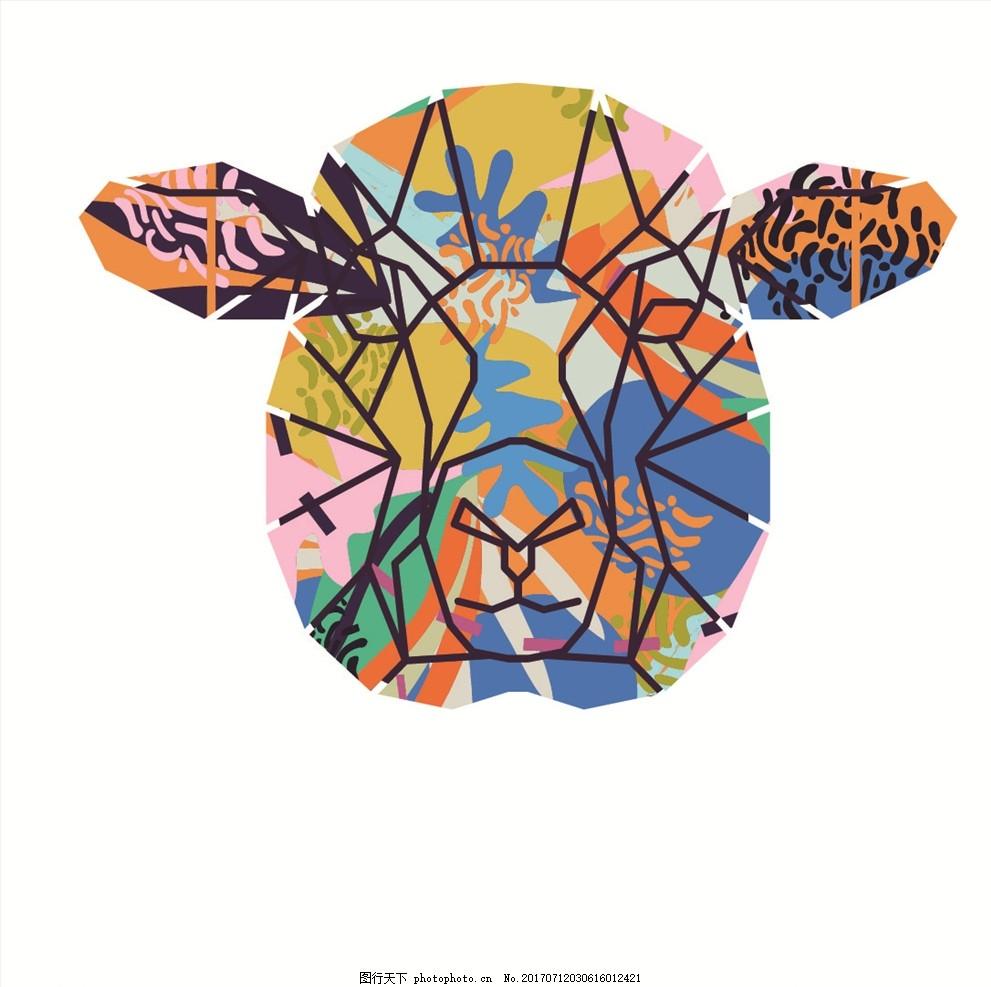 手绘涂鸦动物头像矢量图下载