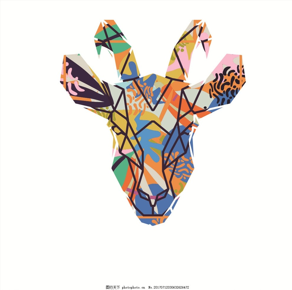 潮牌设计 面料印花 布料印花 贴纸图案 手绘动物 涂鸦动物 动物头像