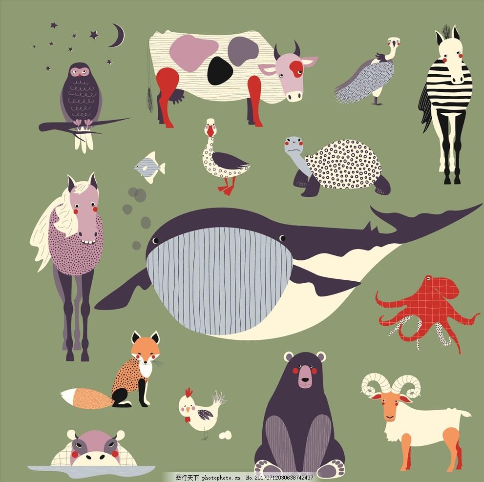 卡通动物 线描卡通动物 可爱卡通动物 小马 马匹 猫头鹰 奶牛 小狐狸