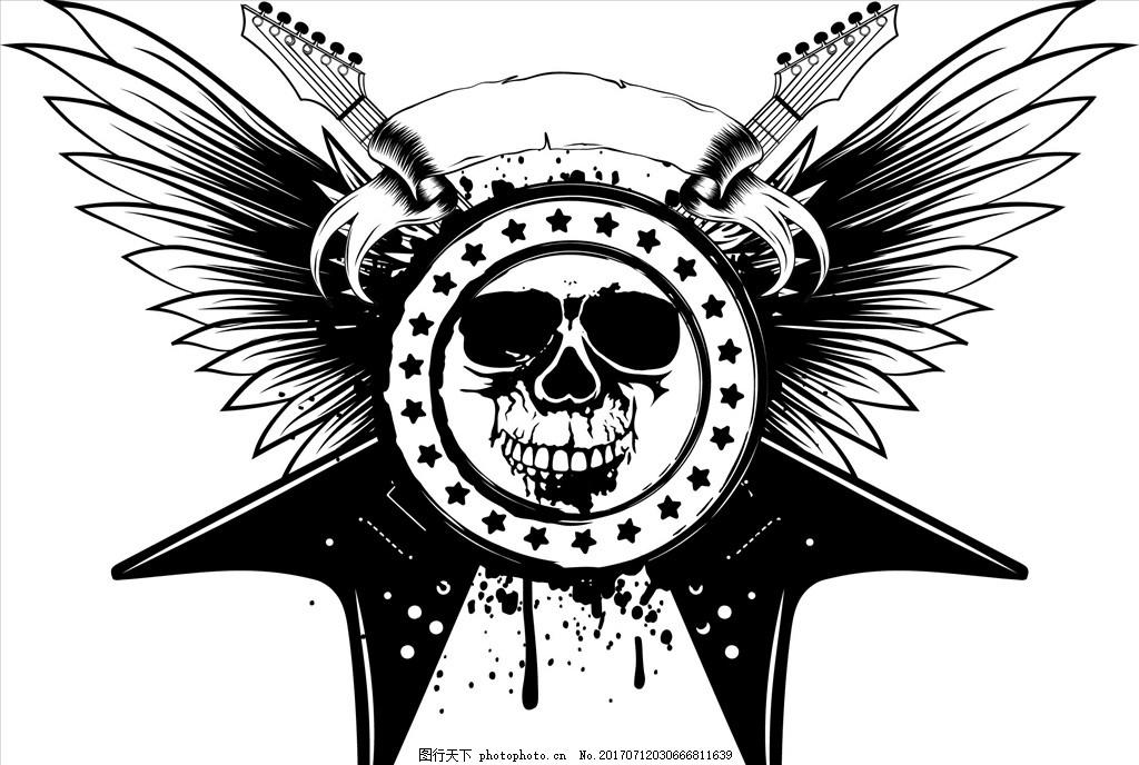 手绘骷髅头乐器矢量图下载