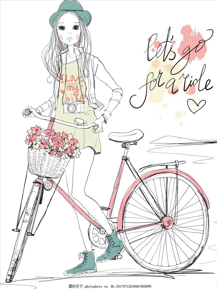 手绘卡通小女孩自行车矢量图下载