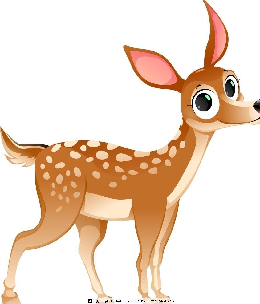 卡通梅花鹿 卡通动物 动漫卡通 可爱 贺卡 动物插画 儿童绘本