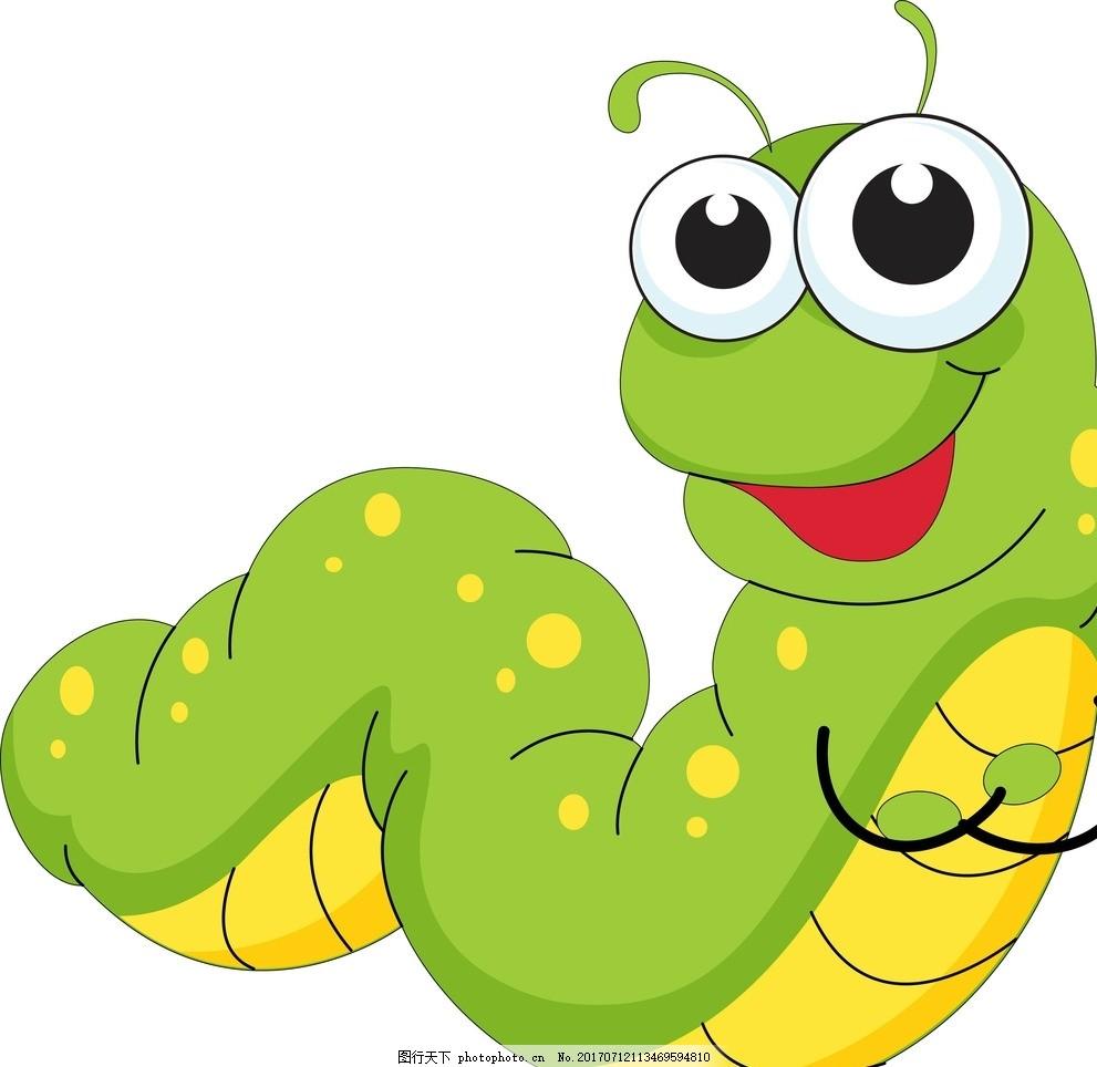 卡通毛毛虫 青虫 卡通动物 动漫卡通 可爱 贺卡 动物插画 插画 儿童