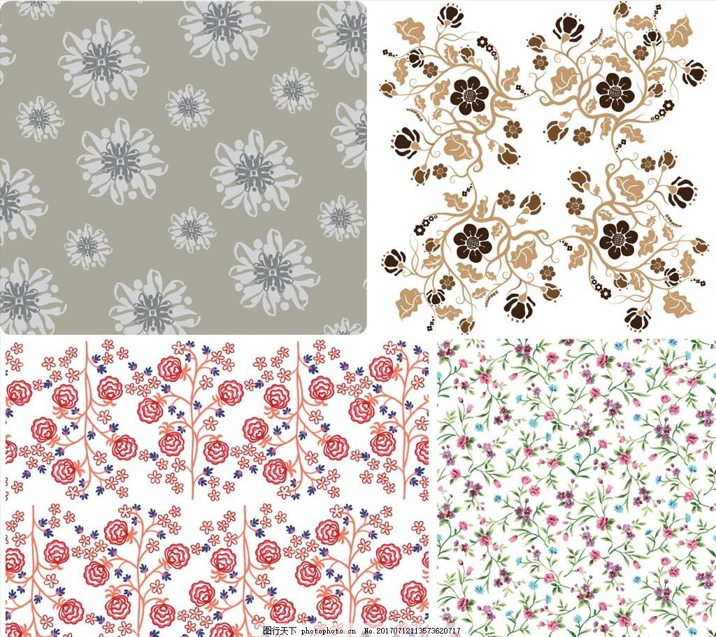 时尚手绘花瓣花藤背景 欧式花纹 四方连续 定位印花 面料图案设计