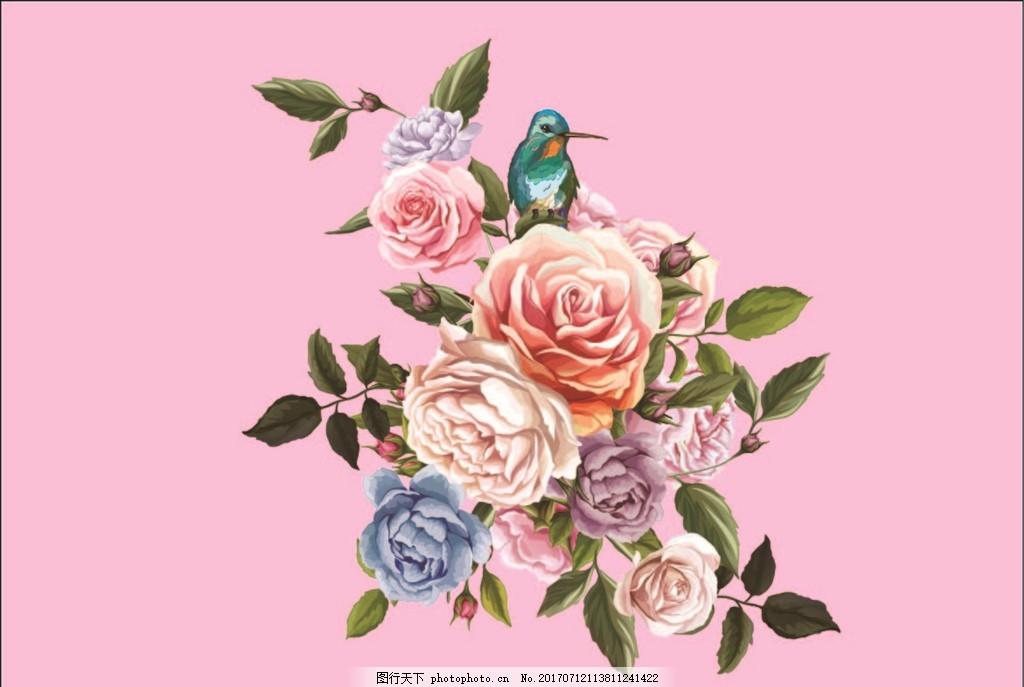 彩绘玫瑰花 手绘 水彩 花卉 鲜花 树枝 小鸟 花鸟 花枝 植物