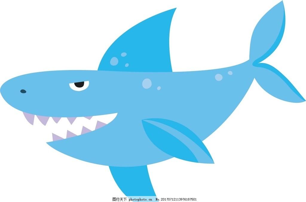 鲨鱼 卡通动物 动漫卡通 可爱 贺卡 动物插画 插画 儿童绘本 儿童画画