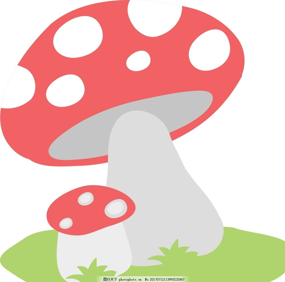 卡通蘑菇 动漫卡通 可爱 贺卡 插画 儿童绘本 儿童画画 矢量图