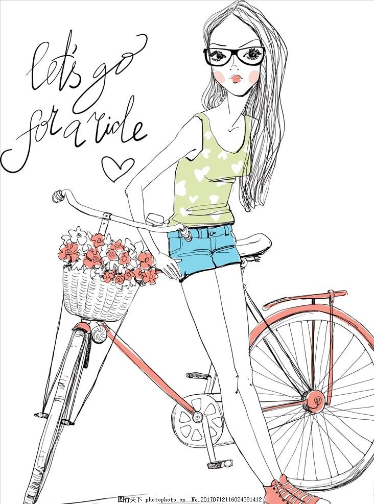 手绘卡通女孩自行车矢量图下载