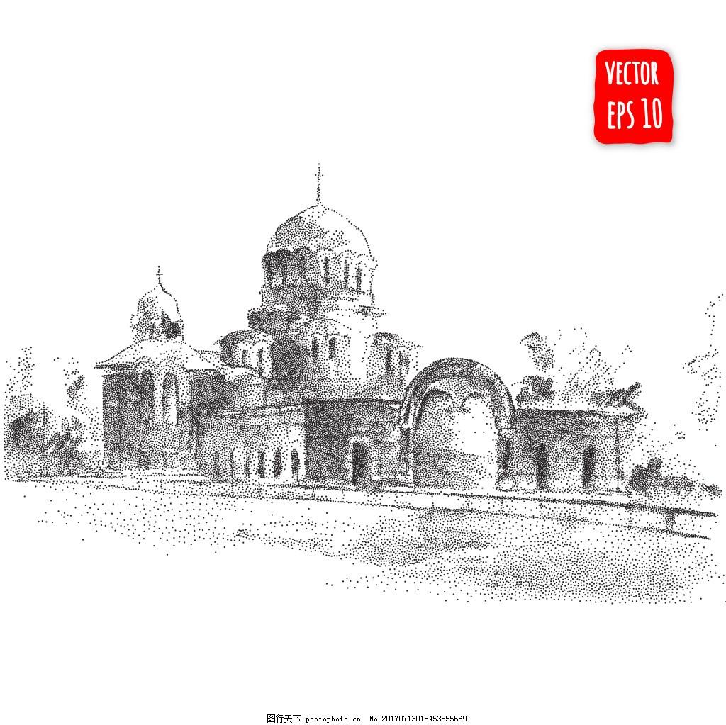 黑白手绘城堡插画 建筑 创意 城市 艺术 风景