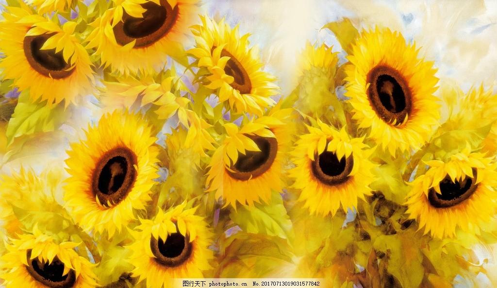 向日葵油画 向日葵 花卉 油画 欧式 装饰画 无框画 花 装饰画 设计