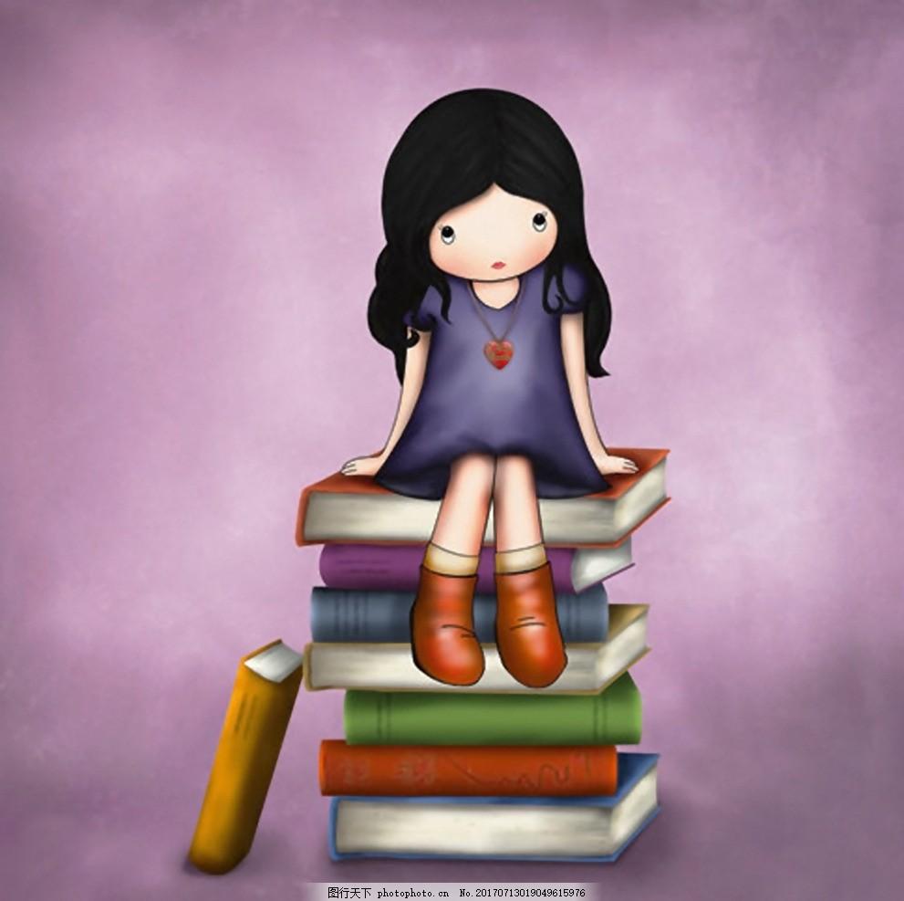 花花姑娘 小女孩 可爱女孩 卡通画 手绘 人物 书籍 装饰画