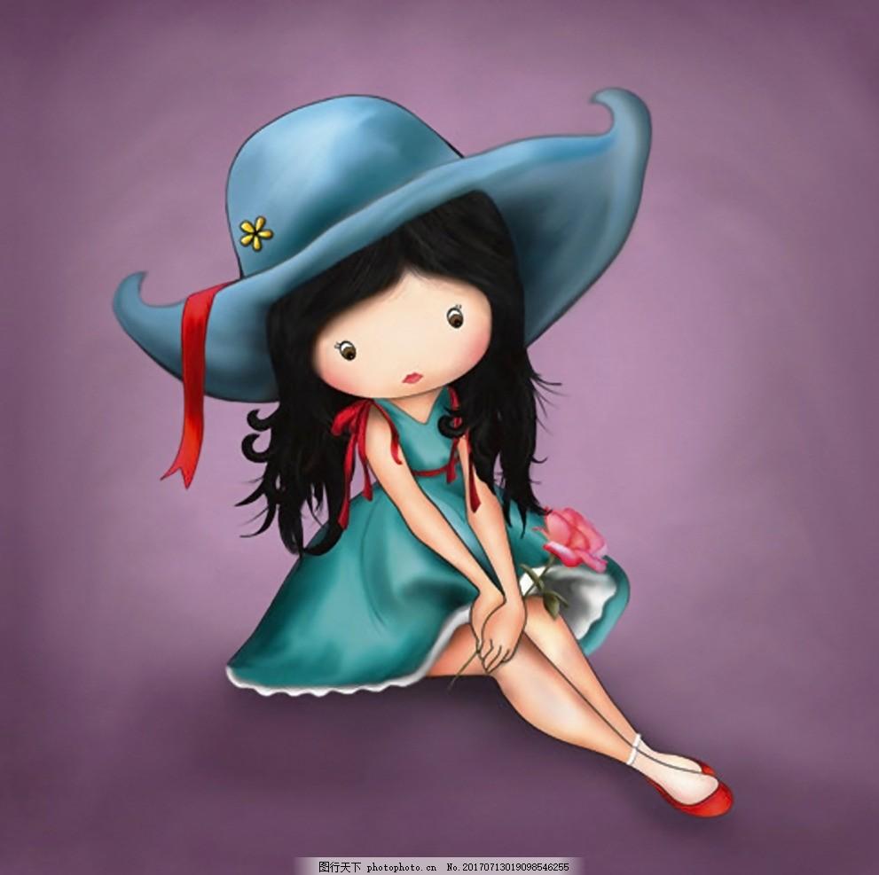 花花姑娘 小女孩 可爱女孩 卡通画 手绘 人物 帽子 装饰画
