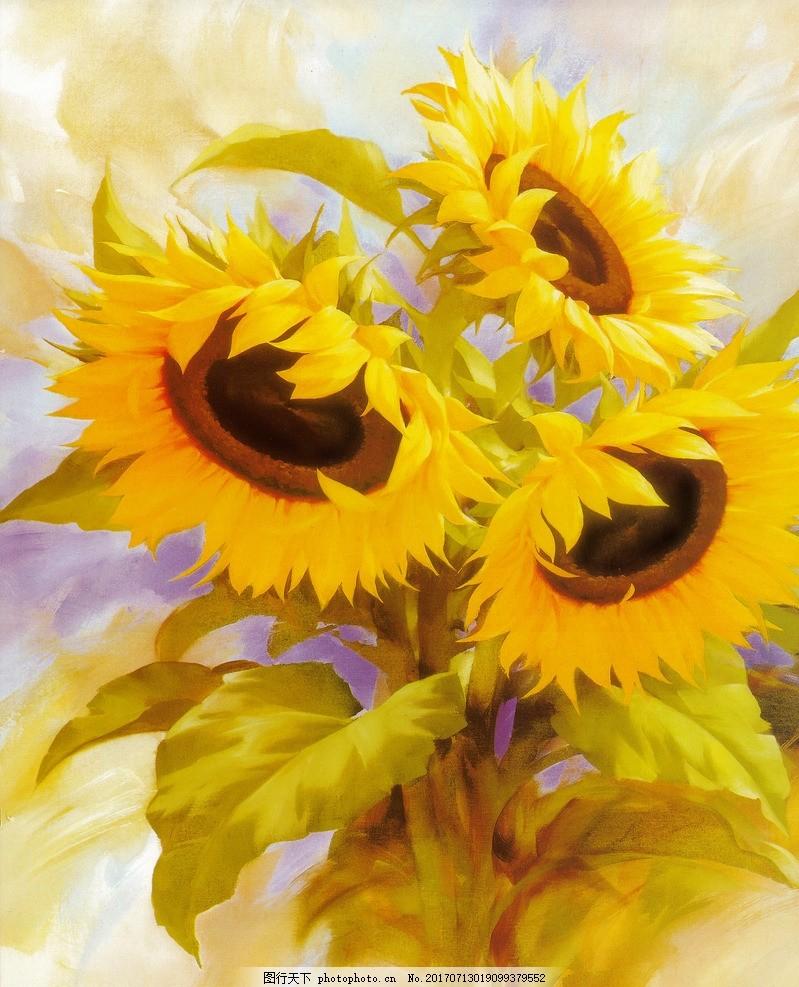 向日葵 花卉 油画 欧式 装饰画 无框画 客厅装饰画