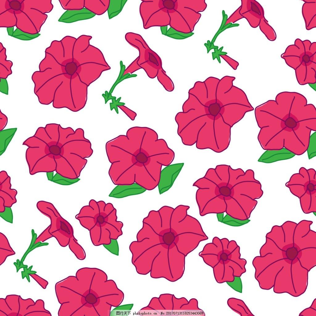 手绘红花花朵背景素材