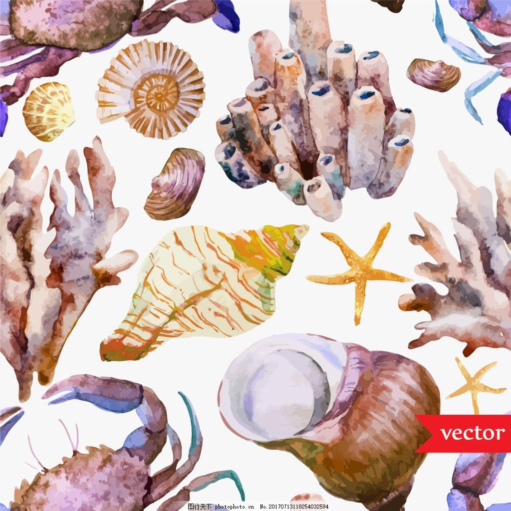 海螺水彩夏日海洋动物元素