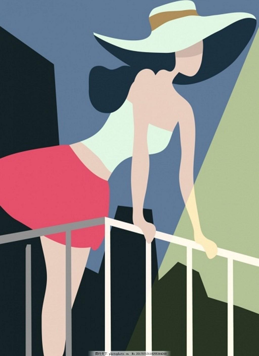 美女漫画背景素材 女孩 女人 栏杆 帽子 漂亮 漂亮衣服 矢量背景