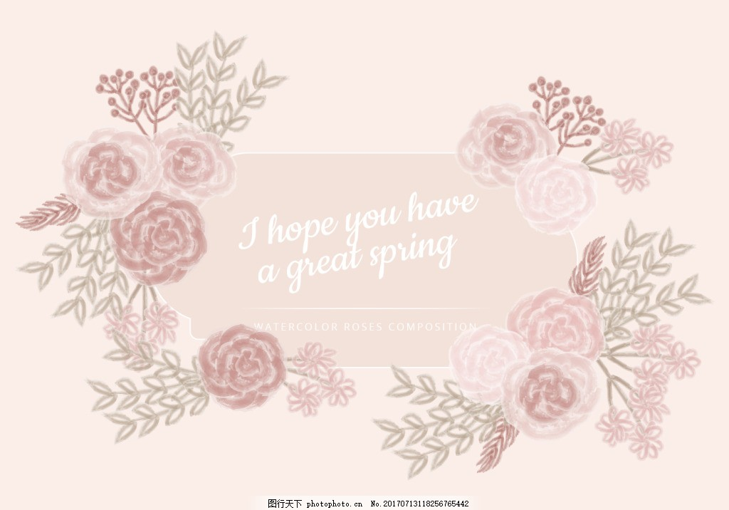 水彩唯美文艺手绘玫瑰婚礼背景素材