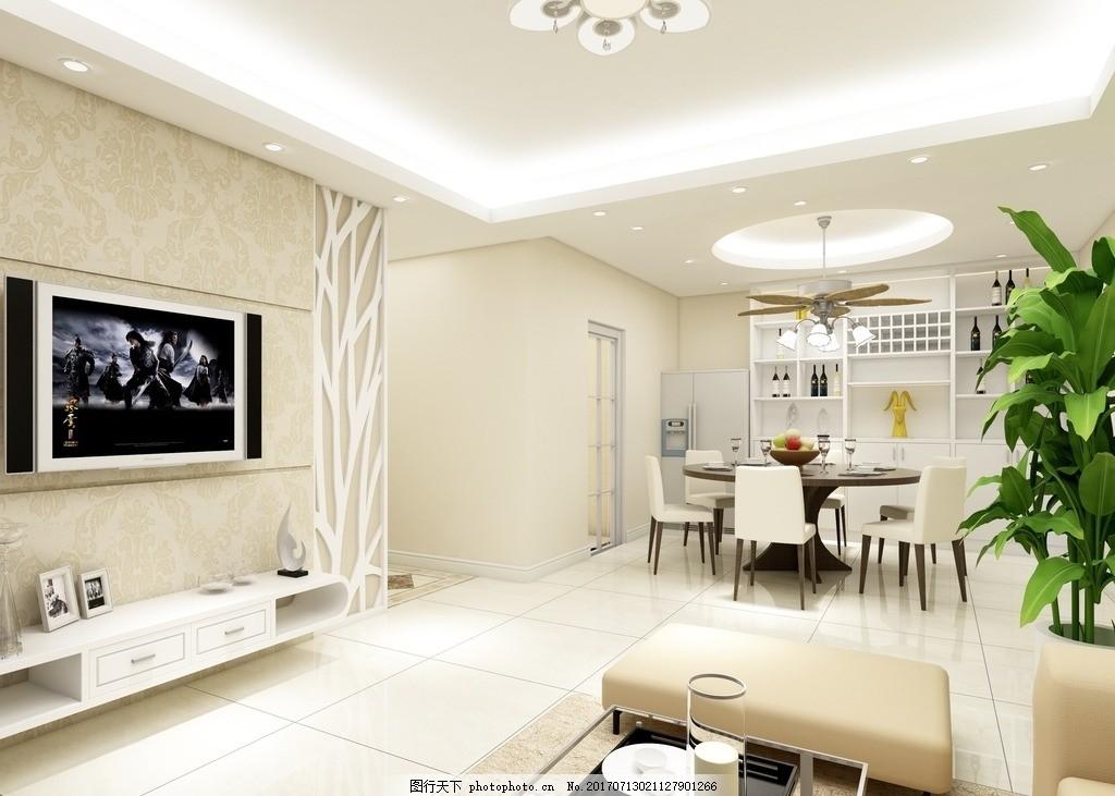 家装效果图 装修 装饰 家装        现代简约 暖色 客餐厅 3d 温馨