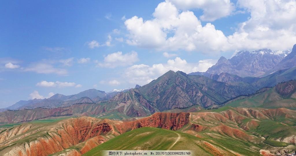 远眺群山 青海省 祁连县 八宝镇 卓尔山 风景 风光 摄影 旅游摄影