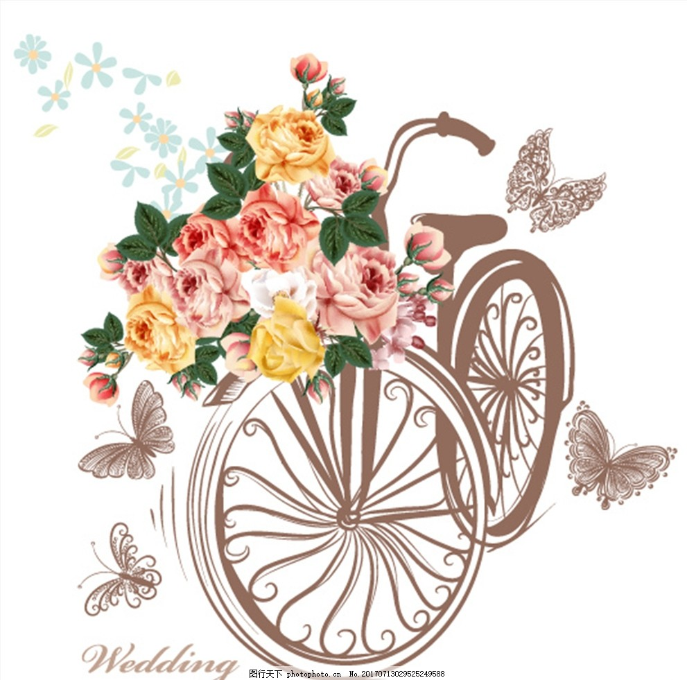 清新手绘水彩花朵婚礼请柬贺卡