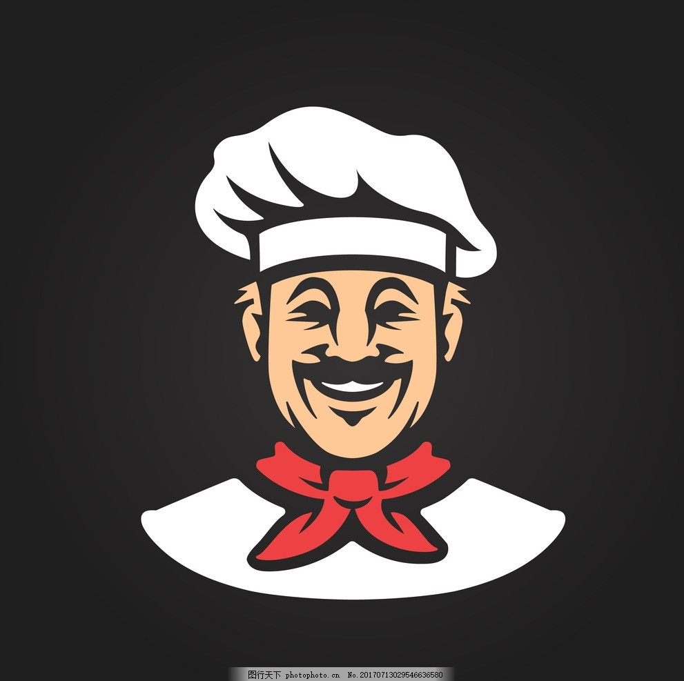 厨师头像 绘厨师 手绘大厨 手绘厨师logo 美食logo 厨子 食材 餐厅