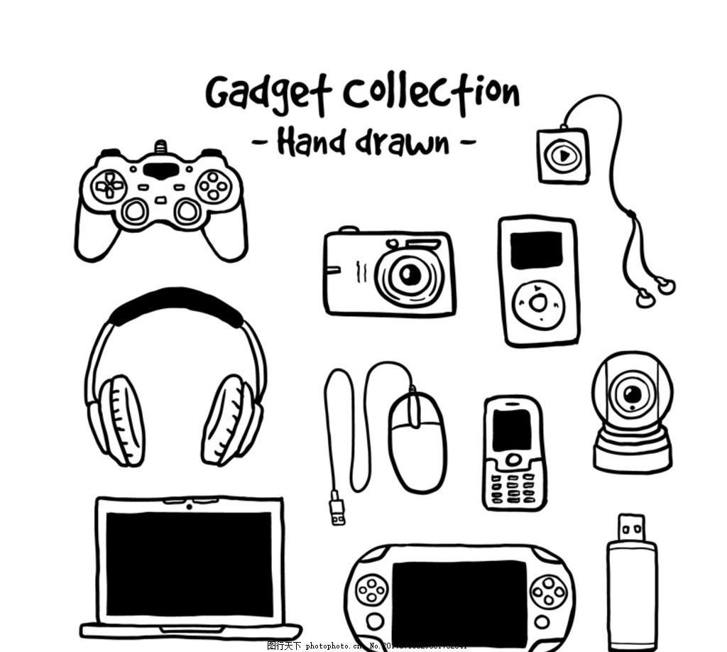 手绘数码产品 游戏机手柄 照相机 耳机 耳麦 运动mp3 鼠标 手机 摄像